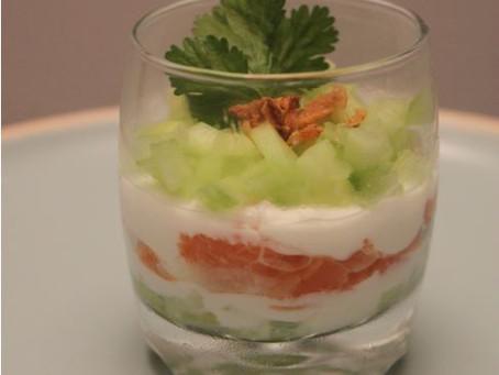Verrines Saumon-Chèvre frais et concombre