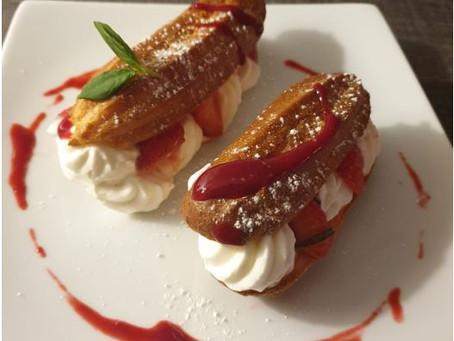 Éclairs aux fraises/basilic et chantilly maison