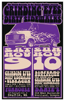 Grinding Eyes and Dirty Sidewalks Gig Poster