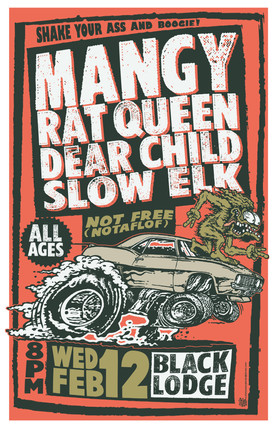 Mangy at the BLack Lodge Gig Poster