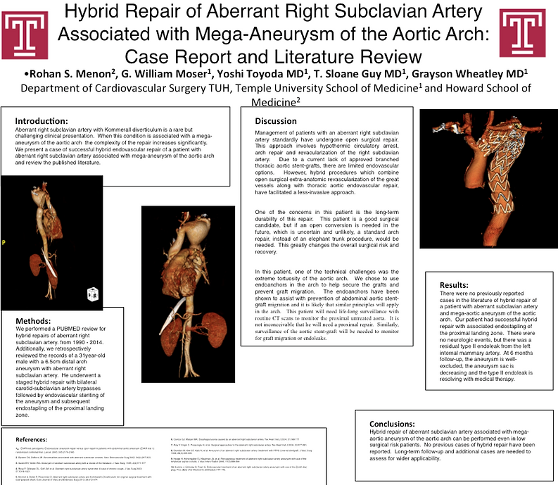 Dr. Grayson Wheatley Research Poster Endovascular TEVAR Aneurysm Stent Aorta