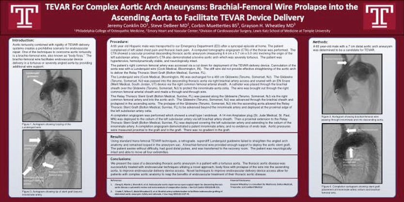 Dr. Grayson Wheatley Endovascular Research Poster TEVAR SCAI Cardiac Surgery