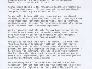 THE PRESIDENT OF THE SOCIETY FOR THE WELFARE OF THE PATAGONIAN TOOTHFISH WRITES TO PRINCE CHARLES