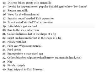 Salvador Dali's To-Do List