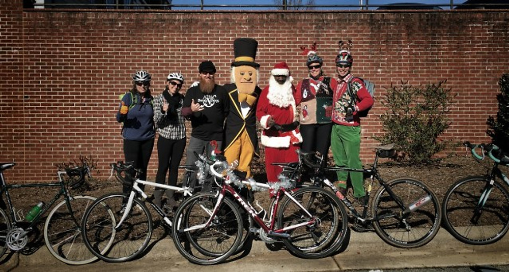 toys for tots group ride wake forest demon deacon mascot black santa