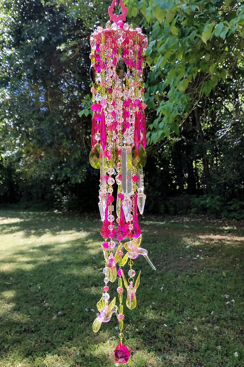 Hot Pink and Green Hummingbirds Wind Chime