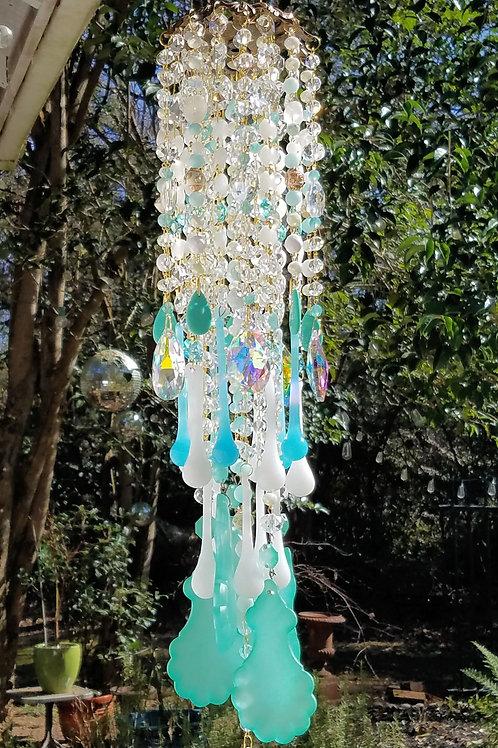 Aqua and White Crystal Wind Chime