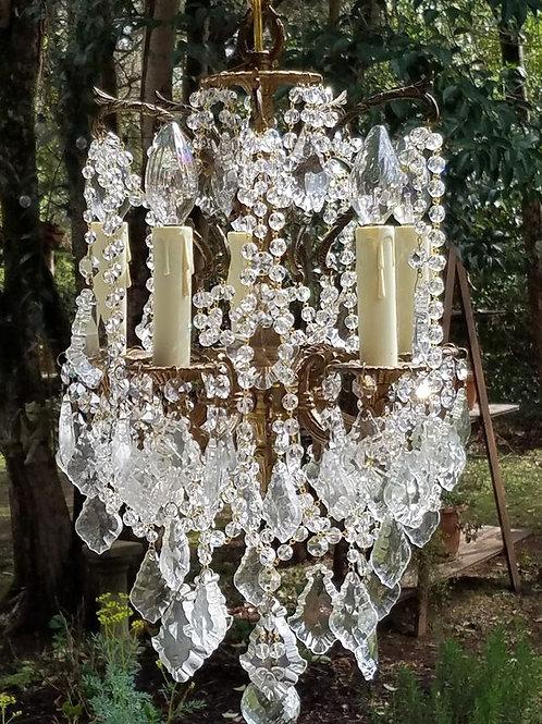 Antique Petite Vintage Crystal Chandelier