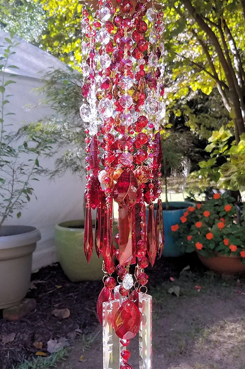 Ruby Red Antique Crystal Wind Chime