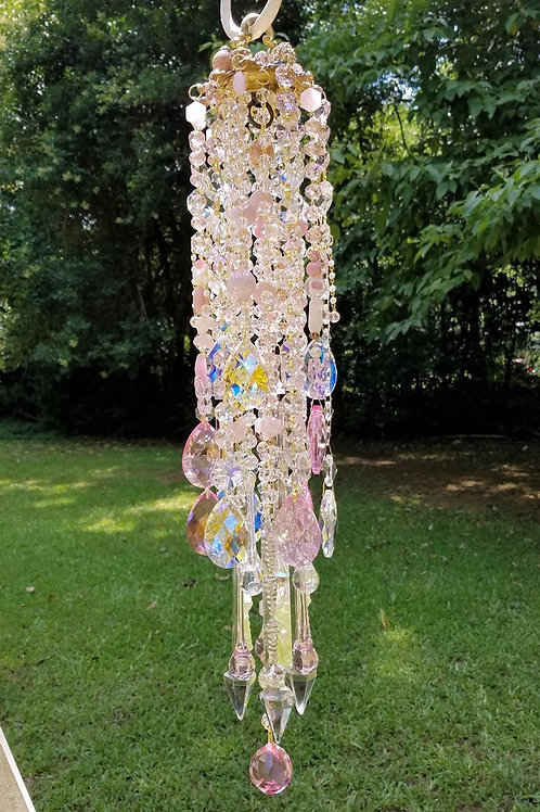 Pink Antique Crystal Wind Chime