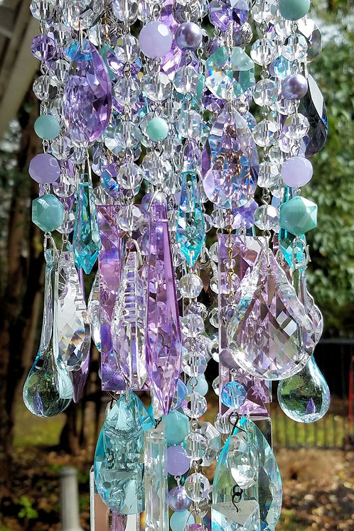 Lilac and Aqua Antique Crystal Wind Chime