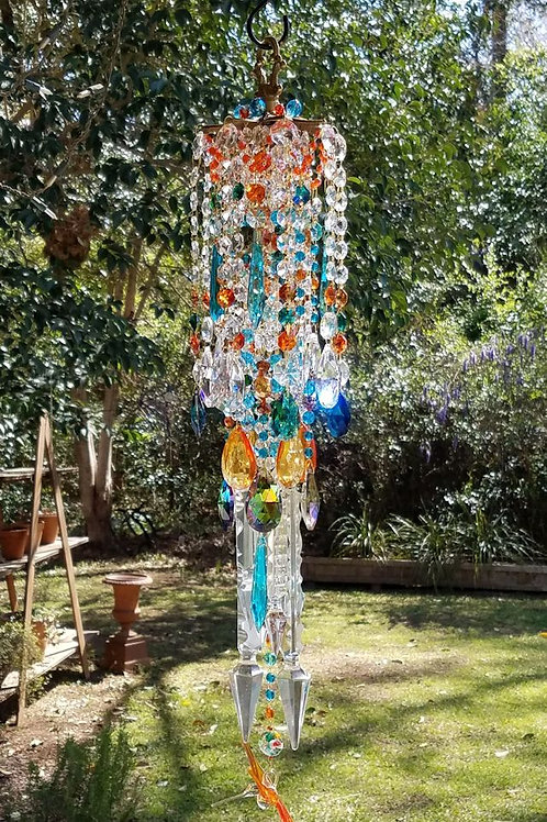 Turquoise and Orange Antique Crystal Wind Chime