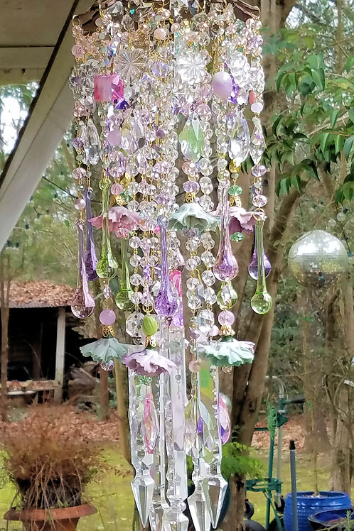 Pastels Wind Chime, Porcelain Flowers Wind Chime