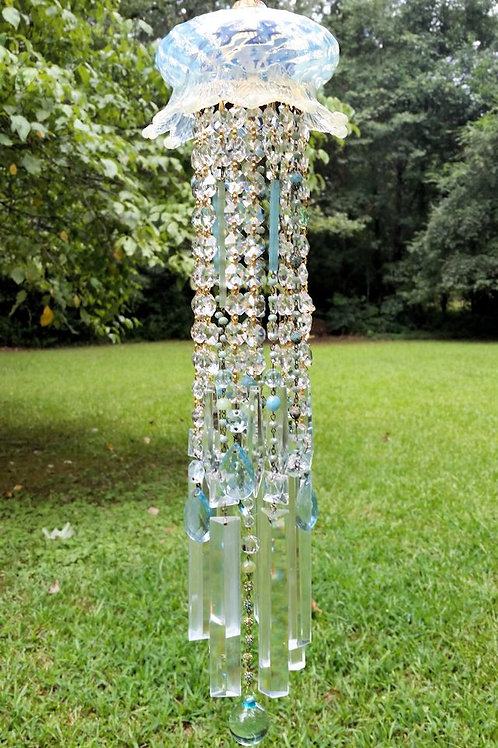 Antique Opalescent Crystal Wind Chime