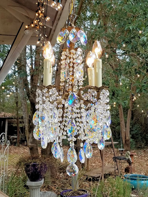 Antique Petite Brass and Crystal Chandelier