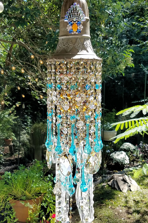 Aqua and Bronze Antique Crystal Wind Chime