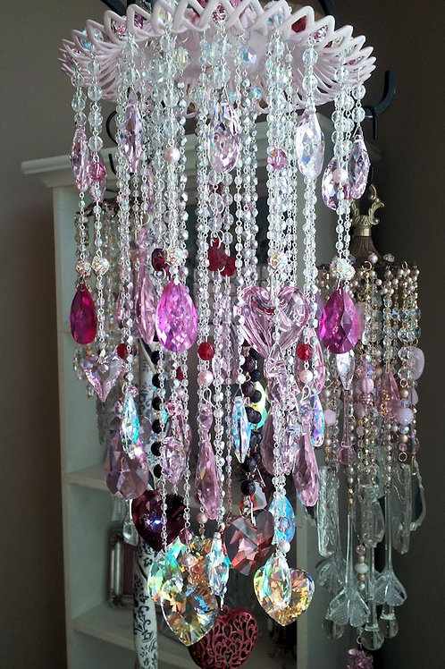 Large Crystal Hearts Wind Chime