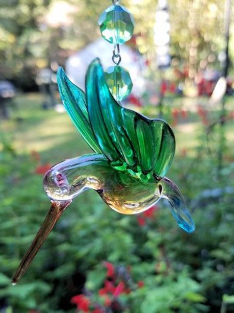 Aqua Turquoise Green Hummingbird Sun Catcher