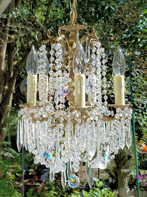 Antique Petite Five Light Brass and Crystal Chandelier