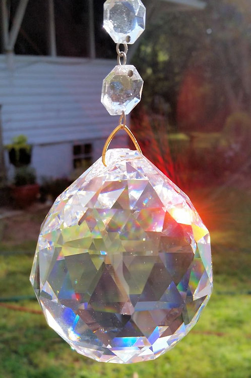 Huge Clear Faceted Crystal Ball Suncatcher