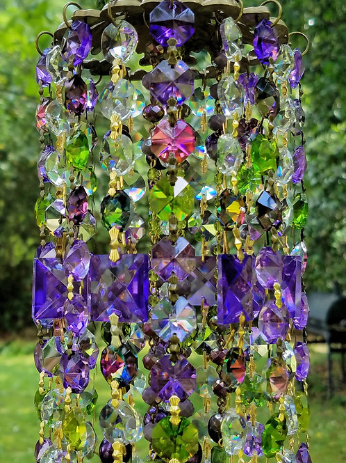 Purple and Green Antique Crystal Wind Chime