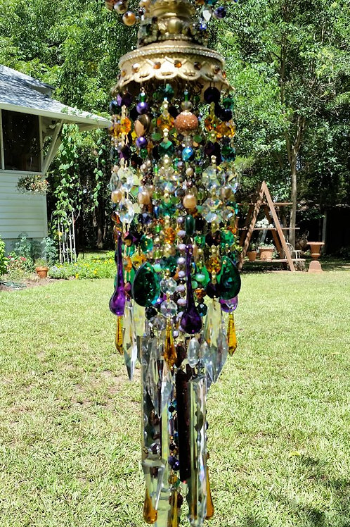 Golden Jeweled Antique Crystal Wind Chime