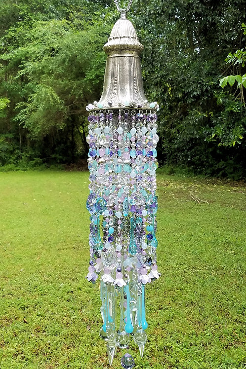 Aqua and Lilac Antique Crystal Wind Chime