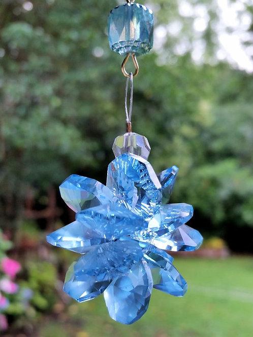 Light Blue and Aqua Crystal Sun Catcher