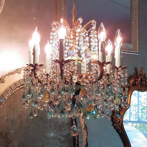 French Blue Antique Chandelier