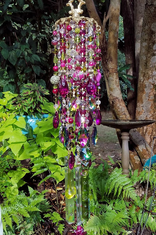 Magenta Antique Crystal Wind Chime