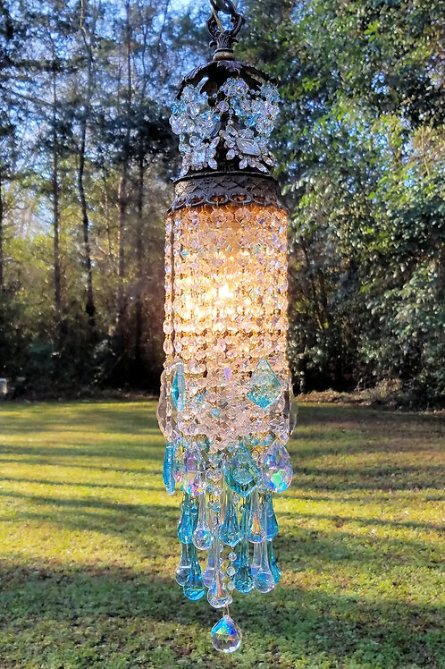 Jeweled Aqua Waterfall Crystal Pendant Chandelier
