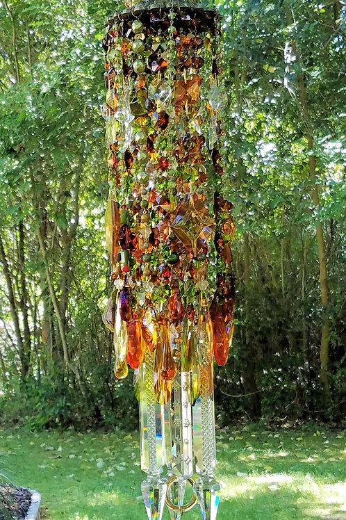 Amber, Olive, Copper Antique Crystal Wind Chime