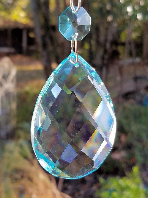 Aqua Blue Lead Crystal Teardrop Sun Catcher