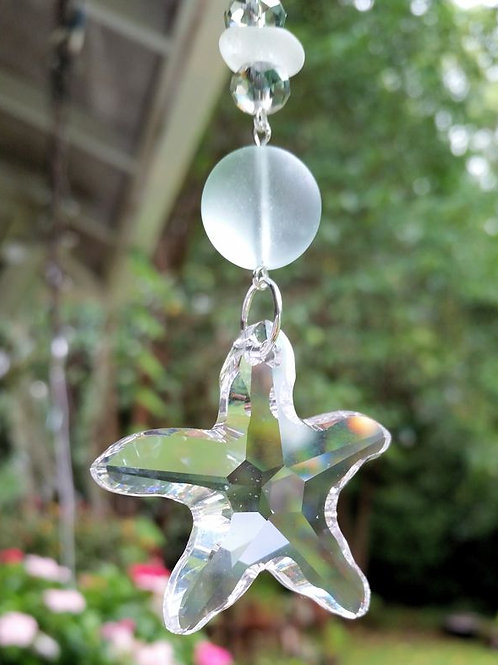 Beach Glass and Crystal Starfish Sun Catcher