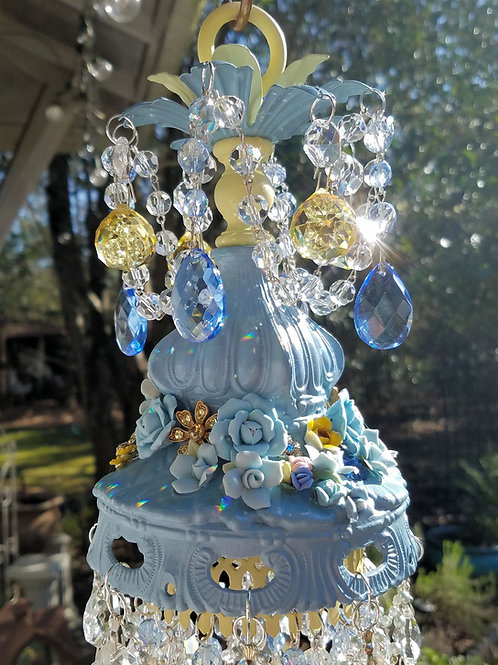 Blue and Yellow Roses Crystal Wind Chime