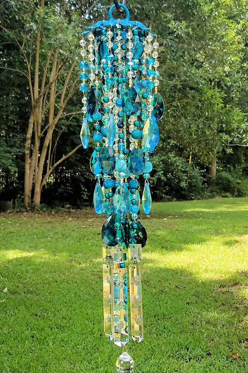 Teal and Aqua Antique Crystal Wind Chime