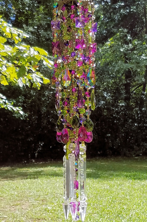 Magenta and Green Crystal Wind Chime