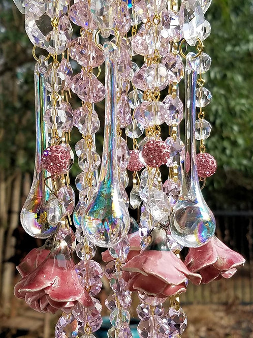 Pink Roses Antique Crystal Wind Chime