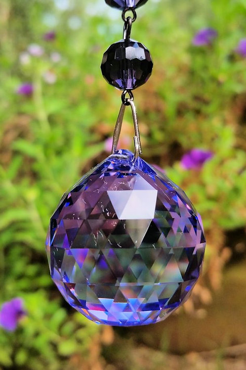Austrian Violet and Emerald Crystal Ball Sun Catcher