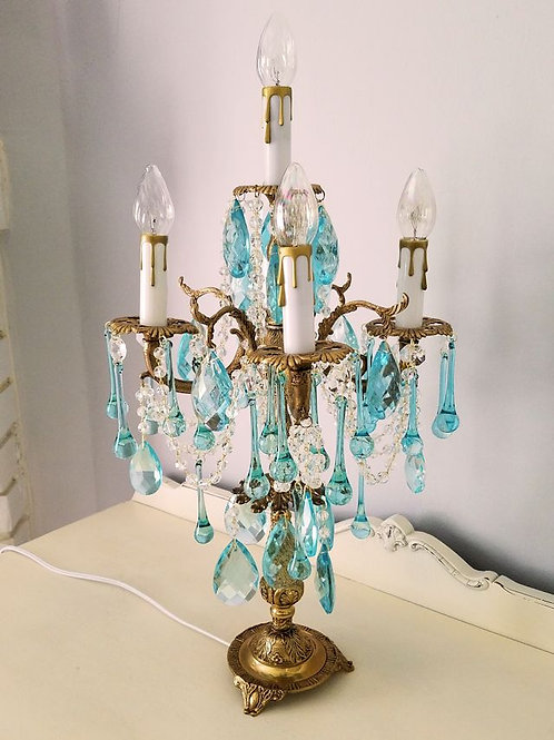 Antique Aqua Crystal Candelabra