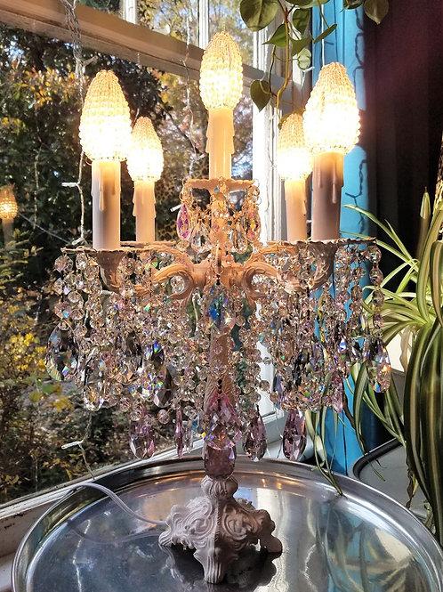 Vintage Brass Pink Candelabra Table Chandelier
