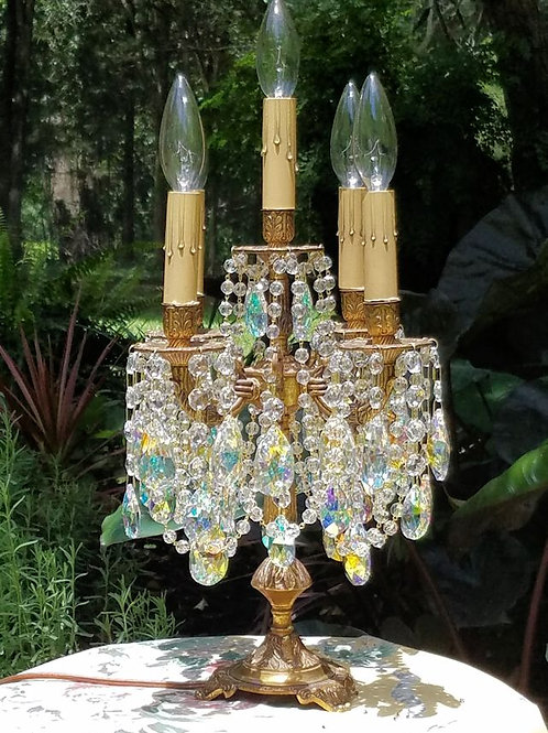 Antique Brass and Crystal Candelabra Table Chandelier