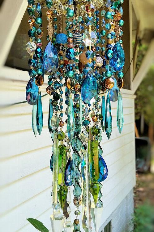 Deep Ocean Blues Antique Crystal Wind Chime