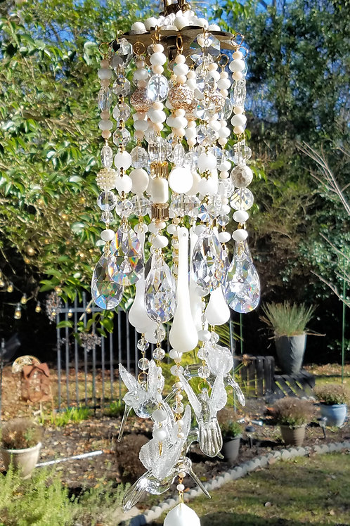 White Hummingbirds Crystal Wind Chime