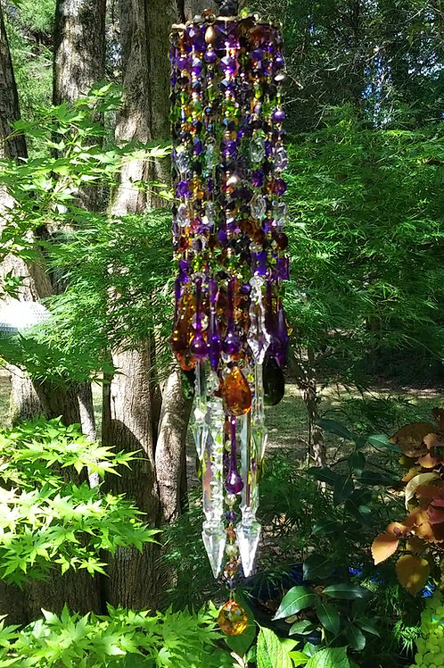 Purple Amber and Green Antique Crystal Wind Chime