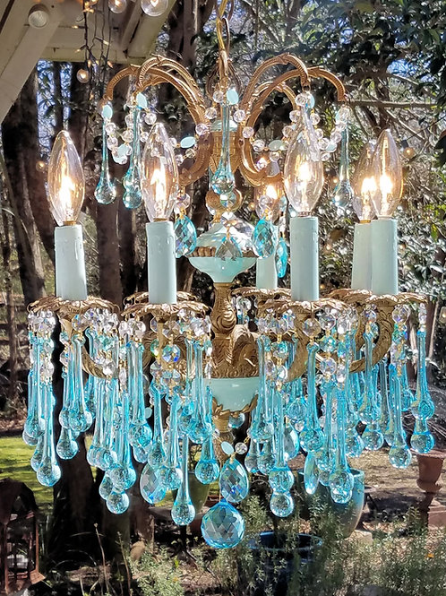 Antique French Blue Chandelier