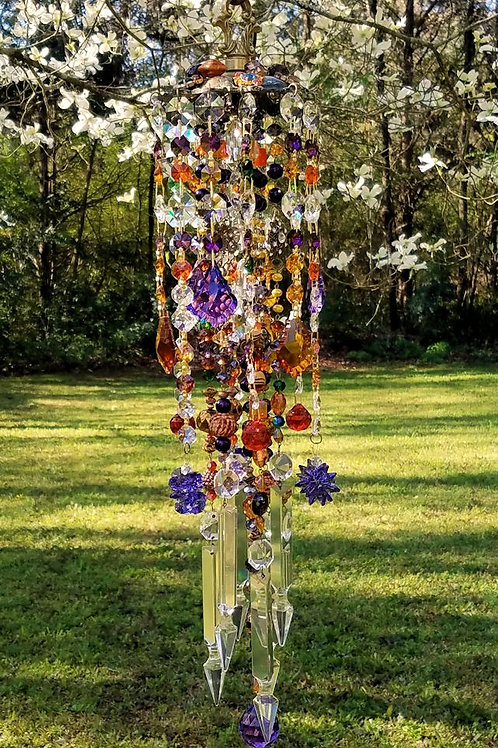 Antique Jeweled Bohemian Crystal Wind Chime