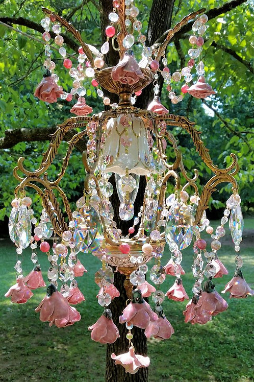 Basket of Roses Antique Petite French Chandelier