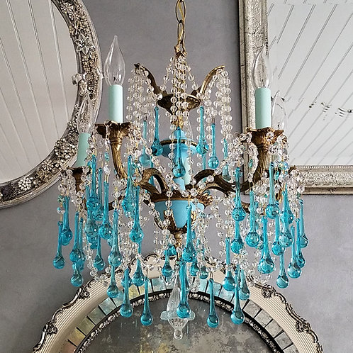Antique Aqua Crystal and Brass Chandelier