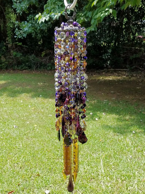 Purple and Topaz Crystal Wind Chime